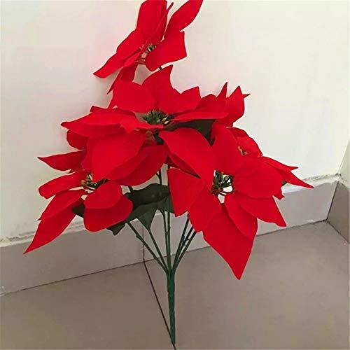 ZJJZH Kunstmatige decoratieve bloemen simulatie kerstster kunstbloem kerstbloem namaakbloem opening festival decoratie bloem simulatie groene plant bloem 40cm
