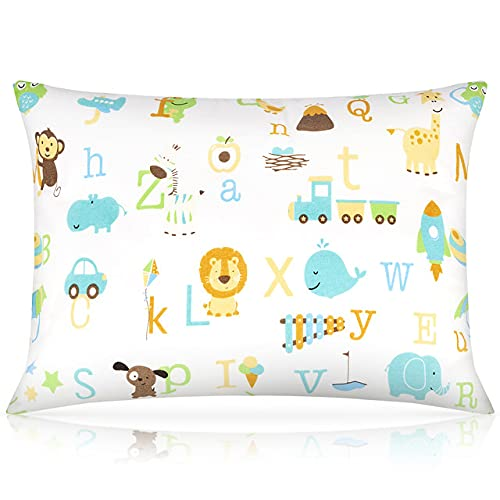 Toddler Pillow,13 x 18 Inch Baby Pillows for Sleeping,Small Kids Pillow with Soft Organic Cotton Pillowcase,Machine Washable,Geometric Patterns