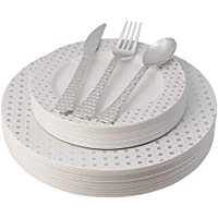 Posh Setting Store 100 Piece Elegant Disposable Plates Plastic & Silverware Set