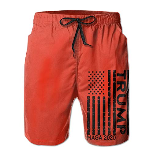 URTEOM Beach Shorts Men,Trump American Flag MAGA 2020 Swim Trunks and Workout Shorts ¨C Perfect Swimsuit or Athletic Shorts for Adults, Boys(XXL)