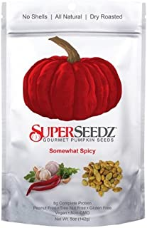 Super Seedz - Gourmet Roasted Pumpkin Seeds, 5 oz Package (Pack of 2) Somewhat Spicy - Non Gmo, Vegan and Gluten Free Snac...