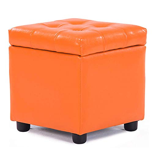 DSDD Leather Upholstered Cube Pouf Ottoman,pouffe Footstool Solid Wood Square Leather Living Room Coffee Table Small Bench