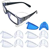 5 Pairs Safety Glasses Side Shields,Slip on Side Shields, Fits Medium to Large Eyeglasses Frames(4 Pairs Clear and 1 Pair Sapphire Blue)