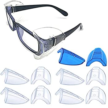 5 Pairs Safety Glasses Side Shields,Slip on Side Shields Fits Medium to Large Eyeglasses Frames(4 Pairs Clear and 1 Pair Sapphire Blue)