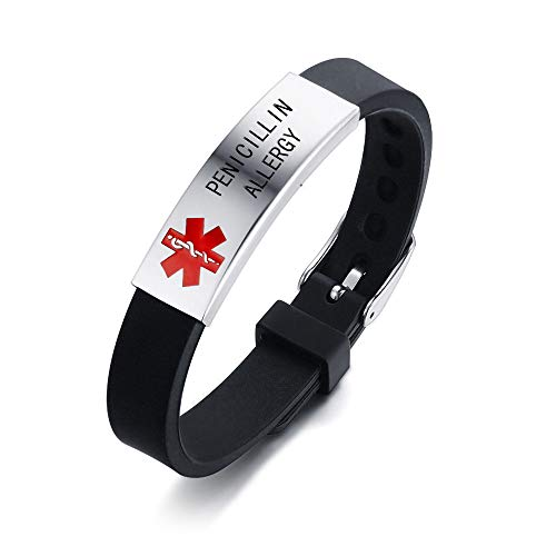 HEABY Medical Alert ID Bracelet Laser Engraved PENICILLIN Allergy Adjustable Wristband for Men Women Emergency First Aid