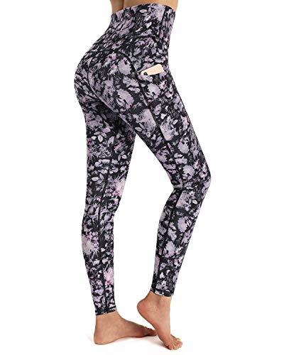 OUGES Womens High Waist Pockets Yoga Pants Running Pants Workout Floral Leggings(Purple Floral,XL)
