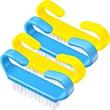 4 Pezzi Spazzola Maniglia per Unghie Spazzola per Pulizia delle Unghie Lavaggio di Mani Spazzolino per Unghie Spazzola di Plastica per Pulizia, 2,6 x 0,5 x 1,4 Pollici (Blu Fisso, Giallo Fisso)