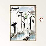 JHGJHK Nuevo Paisaje de China Retro decoración del Arte de la Pared del hogar Póster Imagen de la Sala de Estar Paisaje Retro del país Pintura de Fondo de Pared Pintura al óleo (Imagen 10)