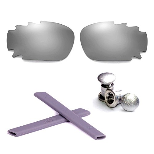 Walleva Polarisierte Belüftungsgläser + Gummi + Bolzen für Oakley Jawbone - Mehrfache Optionen (Titanium Linsen + Grau Gummi + Titanium Bolzen)