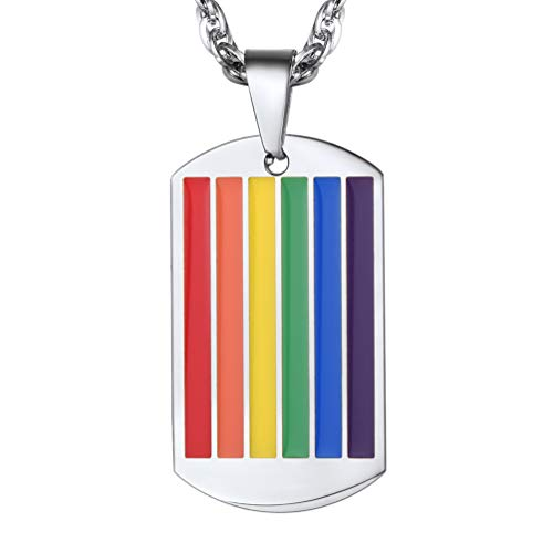PROSTEEL LGBT Gay Pride Jewelry Stainless Steel Rainbow Dog Tag Dogtag Pendant Gift Men Women Lesbian Pride Necklace