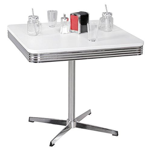 Wohnling Elvis - American Diner Esstisch, 80 x 76 x 80 cm aus MDF/Aluminium, Robuster Bistro-Tisch im Stil der 50er Jahre, Esszimmertisch mit Untergestell aus verchromtem Alu,