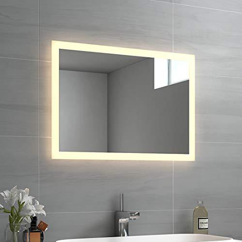 EMKE LED Badspiegel 50x70cm Badspiegel mit Beleuchtung Warmweiß Lichtspiegel Badezimmerspiegel Wandspiegel IP44 energiesparend