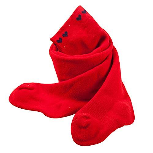 Tauzveok Medias de fondo de bebé para mantener el calor en otoño e invierno, niñas pequeñas, bucles gruesos, niñas de 0 a 1 a 3 años, grandes PP de cintura alta, rojo, M