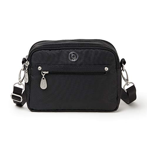BG by Baggallini Oakland Crossbody Bag - Lightweight, Water-Resistant Travel Purse, Adjusts to Become A Belt Bag or Fanny Pack, Black