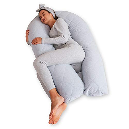 BODY NEST Cooling Pregnancy Pillow. U-Shape Full Body Pillow with Reversible Zippered Jersey Cotton Cover Gray. 2-in-1 Cover with Cooling Cotton Summer Side & Minky Soft Winter Side
