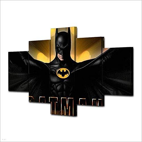 Gtart 3D Bilder Wohnzimmer Wandbilder Modern Wandbild Leinwand Bilder 5 Teilig Regalo Batmans Film Wanddekoration Design Wandkunst 5 Stücke Leinwand Kunstdruck