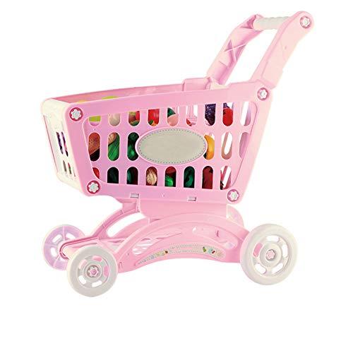 LYY Spaß Interaktiv Kinderspiel Warenkorb, Gratfreie Simulation Supermarkt Trolley, Obst- und Gemüse Mini Einkaufswagen, Kinder Supermarkt Trolley Die Beste Wahl für Kinder (Color : Pink)