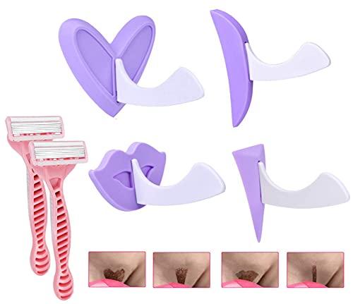 Bikini Trimmer Portable Razor for Women Hair Removal Shaving with Stencil Privates Shape Secret Intimate Tools Kit, Styles of 4 (Purple)
