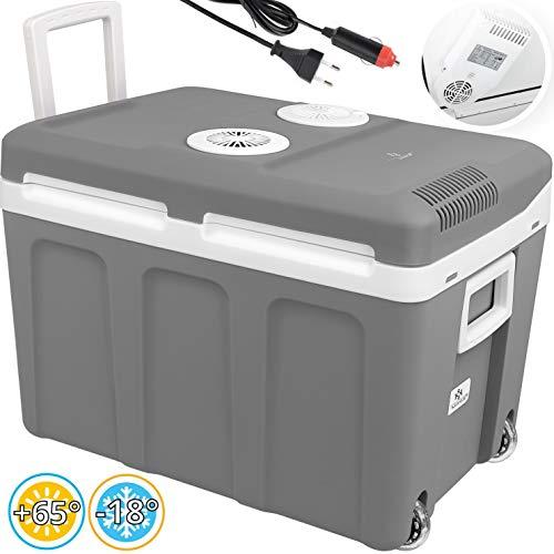 Kesser® 40L Kühlbox mit Rollen | zum Warmhalten und Kühlen | Thermo-Elektrische Kühlbox | 12 Volt und 230 Volt| Mini-Kühlschrank | Thermobox für Auto| Boot und Camping | EEK A++ mit ECO Modus Grau