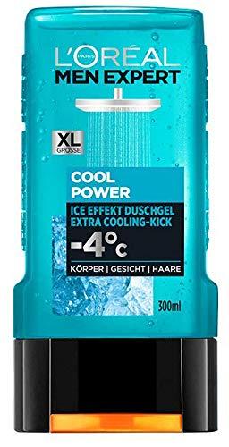 L'Oréal Men Expert Cool Power Duschgel, kühlende Menthol-Wirkung regeneriert die Haut (Gesicht, Körper und Haare) sanft ohne auszutrocknen (1 x 300 ml)