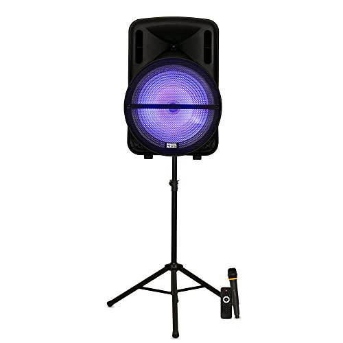 "Acoustic Audio PRTY152 Battery Powered 15"" Bluetooth LED Speaker with Wireless Mic and Stand"