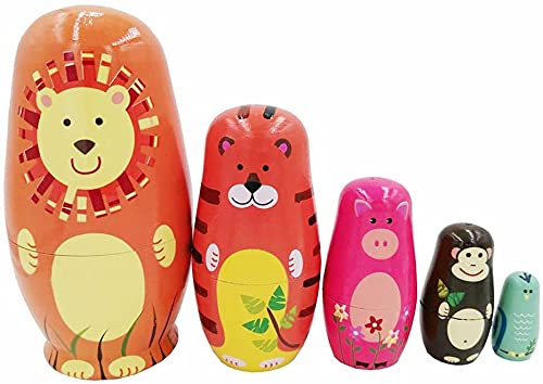 CUDNY 6' Tall Cute Russian Nesting Dolls for Kids, Stacking Wooden Handmade Matryoshka Dolls, 5 Piece Cute Cartoon Animal Pattern, Great Toy Gift for Girls Boys' Birthday or Home Decoration