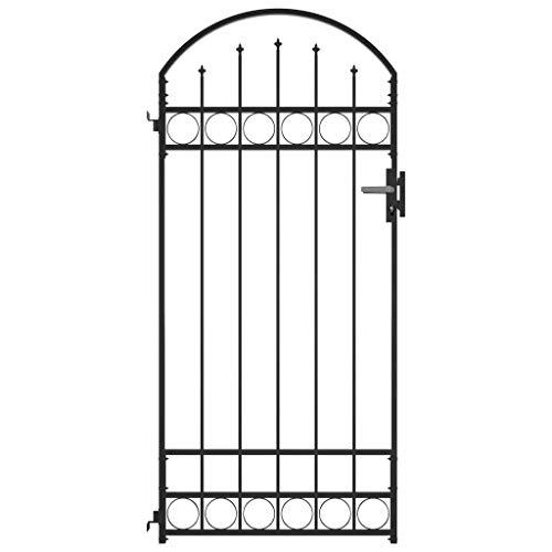 vidaXL Cancello per Recinzione ad Arco Robusto Durevole Privacy con Pali Serratura e Chiavi Ingresso Pedonale in Acciaio 100x200cm Nero
