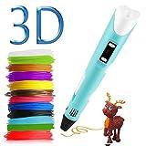 Penna di stampa 3D 3D penna 3D penna di stampa con 12 colori di filamento, compatibile con PLA e ABS, display LCD, temperatura / velocità regolabile 3D Pen Giocattoli/regali per bambini