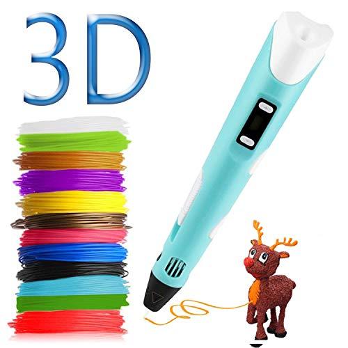 Pluma de impresión 3D Pluma 3D Bolígrafo 3D Pluma de Impresión con 12 colores de filamento, compatible con PLA y ABS, Pantalla LCD, Temperatura/Velocidad ajustable 3D Pen Juguetes/Regalos para Niños