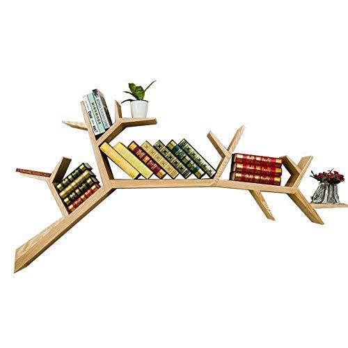 KGDC Estantería de Pared, Madera Maciza, estantería de Pared para Libros, árbol, Creativa, Minimalista, Separador, para salón nórdico, Fondo de TV, estantería Decorativa