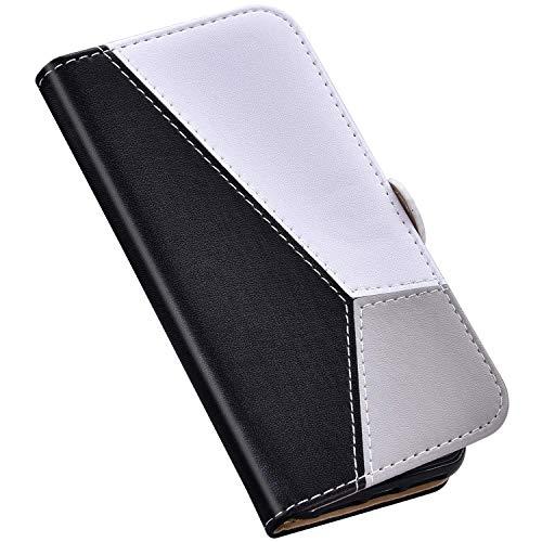 QPOLLY Coque Compatible avec Huawei P30 Pro Étui à Rabat, Épissure Design Portefeuille Cuir PU Flip Fermeture Magnétique Carte de Crédit Stand Case Leather PU Housse Étui de Protection,Noir