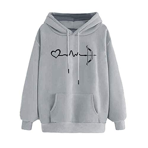 Mllkcao Long Sleeve Sweatshirt Valentine's Day Present Blouses Ladies Tops for Women Hoodie Pullover Sweater Jumper Plus Size Long Sleeves Tops Couples Love Printed Happy New Year Gray