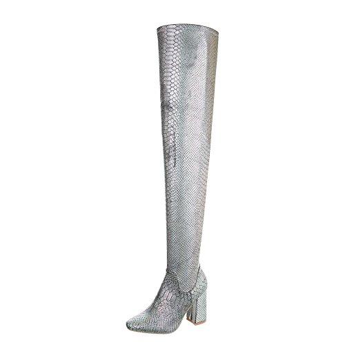 Ital-Design Overknees Damen-Schuhe Overknees Pump High Heels Reißverschluss Stiefel Silber, Gr 39, Jr-011-