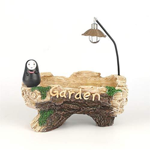 WBFN Pots de Plantes - Résine Pot de Fleurs, Pierre Simulation Creative charnue Pot de Fleur Pot Plante Vent Jardin Imitation Bois avec de la lumière,for l'intérieur Balcon Décor Jardin