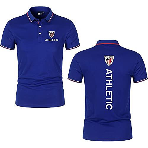 HUISEDIDAI Polos Solapa Liso Athletic-Bilbao Impresión Camiseta de manga corta Top Hombres y mujeres Algodón Trabajo informal Largo/Azul/M