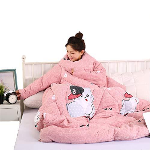 STAD Faule Steppdecke mit Ärmeln, multifunktional, tragbar, für den Winter, hält warm, verdickt, gewaschene Kissen, Decke für Hausaufgaben, Spiele, Handy, Vibrato Cat