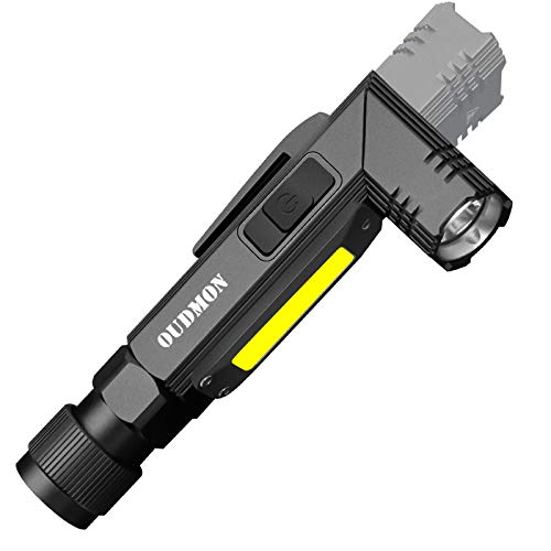 Euyee USB Rechargeable Flashlight Magnetic Tactical camping lights High Lumens -5 Modes, 90 Degree Adjustable head lamp IPX65 Waterproof for Hiking, Emergency (Include 14500 Batteries)