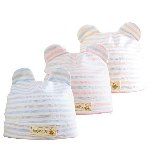 Bebé Beanie Sombrero Recién Nacidos Gorros para Bebés 100% Algodón Invierno Otoño Gorras Niños Niñas 0-3 Meses, 3 Piezas