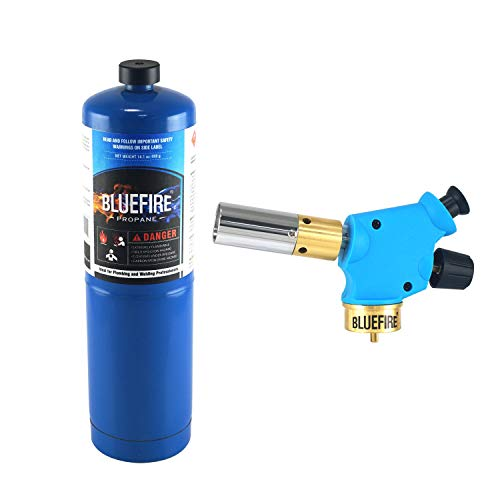 BLUEFIRE Handy Cyclone Torch Kit with Propane Push Button Trigger Start Nozzle Head Fuel by Propane MAPP MAP PRO Gas Cylinder Welding Soldering Brazing Cooking Glass Beads DIY (Kit with Propane )