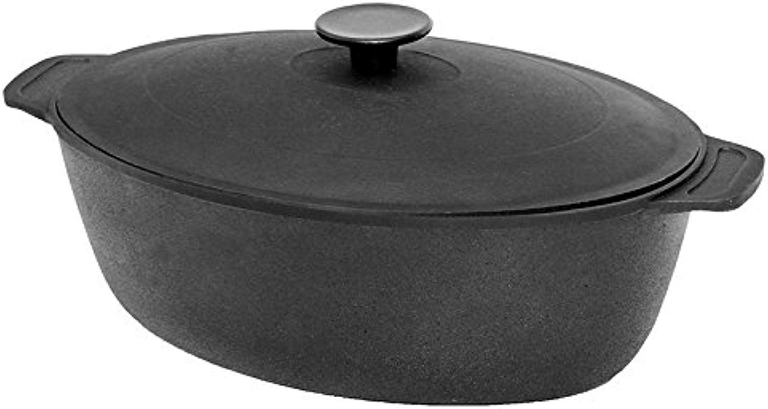 Cast Iron Covered Oval Roaster With Lid Cast Iron Oval Fryer 8 5 Qt 8 L