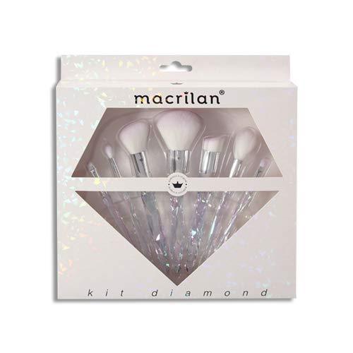 Kit Diamond com 7 pincéis profissionais para maquiagem - ED003, Macrilan