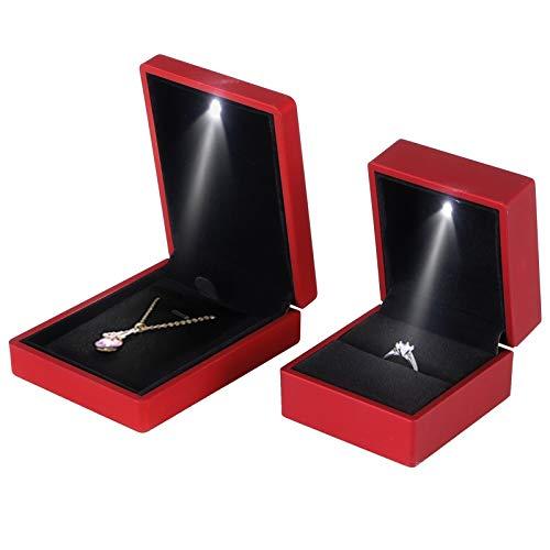 logozoee Necklace Box, Mini Size LED Jewelry Gift Box, Elegant for Proposal Engagement(red)
