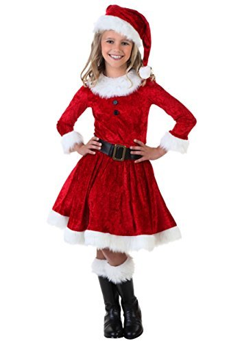 Western Era Girls Santa Claus Christmas Dress, Outfit (Red, 6-8 Year)