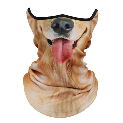 AXBXCX Animal 3D Prints Neck Gaiter Warmer Half Face Mask Scarf Windproof Dust UV Sun Protection for Skiing Snowboarding Snowmobile Halloween Cosplay Golden Retriever
