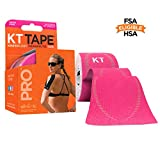 KT Tape Pro Kinesiology Therapeutic Sports Tape, 20 Precut 10 inch Strips, Hero Pink