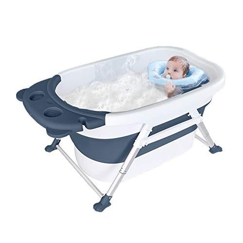 MYRCLMY Bañera para Bebés, Bañera Plegable Natación del Bebé Recién Nacido del Cucharón Grande Bidé Hogar Niños Bañándose Cubo, para El Bebé De 0-3 Años,Azul,C
