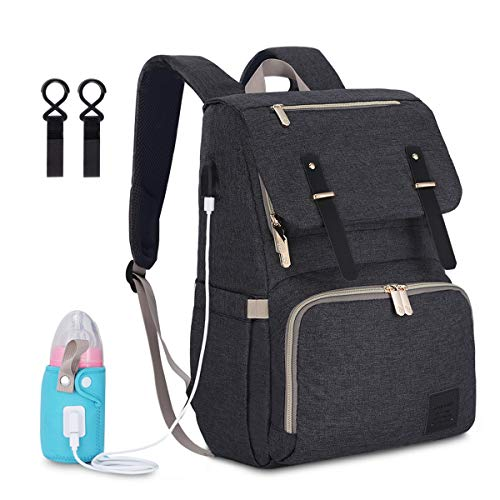 Multi-Function Waterproof Travel Baby Diaper Bag Backpack with USB Charging Port and Heating Bottle Case (Dark Grey)