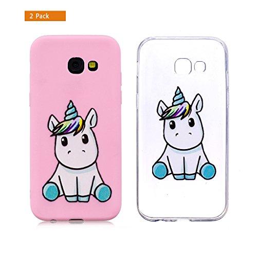 E-Flamingo [2 Pack] Universecase Custodia Compatibile con Samsung Galaxy A5 2016 Rosa Chiaro Unicorno Silicone Soft TPU Case Cover Anti-Graffio Bumper Protettiva Caso