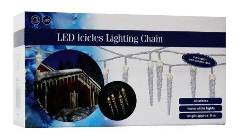 LED Eiszapfen Lichterkette 40 Zapfen - warmweiß - Lichtervorhang Innen & Außen Eisregen