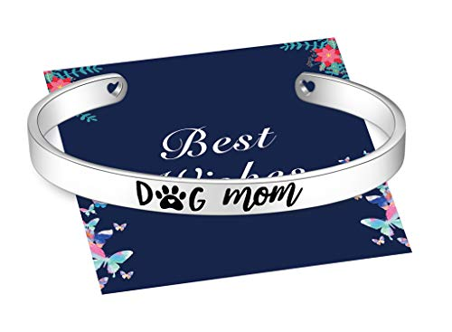 Dog Mom Cuff Bracelets for Women Girl, Stainless Steel Bangle Jewelry with Pretty Gift Box, Thanksgiving Christmas Birthday Mother's Day Best Mom Mummy Gift